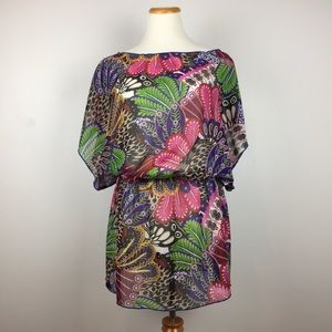 Xhilaration Swim Cover Up Bright Floral Sheer M